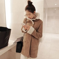 2013 winter medium-long slim fur collar double breasted overcoat trench outerwear thick female