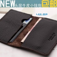 2014 New small card holder Mini wallet cowhide coin purse genuine leather handmade short design thin wallet, Free shipping