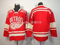 2014 detroit red wings winter classic blank red ice hockey jerseys embroidery logo jerseys