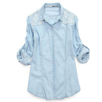 Wholesale New Hot Womans Lady Women Retro Vintage Long Sleeve Blue Lace Jean Denim Shirt Top Blouse