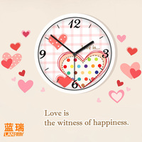 Lovable Secret - Furnishings candy sweet heart wall clock child real mute quartz clock and watch  free shipping