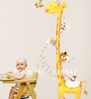 Ebay Hot Selling Free Shipping New Giraffe Kids Growth Chart Height Measure For Home/Kids Rooms DIY Decoration Wall Stickers