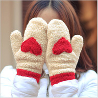 Free shipping Ms. warm winter full finger gloves warm thick plush love