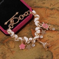 2013 New Fashion Eiffel Tower Pentagram Cards Pink Flower Chain Bracelet B393
