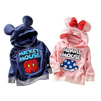 2014 Child Kids Baby Boys Girls Hoodies Long Sleeve Mickey Minnie mouse Bow Tail cartoon top t shirt Sweatshirts baby clothing