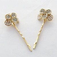 Accessories full rhinestone pearl flower hairpin clip bangs clip female