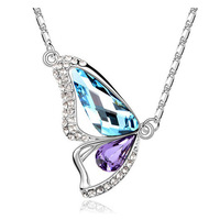 Fashion elegant full rhinestone butterfly crystal necklace female short design chain birthday gift
