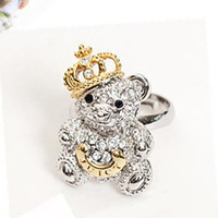 38 fashion full rhinestone bear ring finger ring female pinky ring jewelry