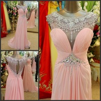 free shipping 2013 luxury crystal formal brides beaded pink long sexy chiffon yellow evening party prom gowns Graduation Dresses