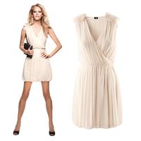 Free Shipping 2014 Hot Sale Women Spring Summer Fashion 2 Colours Sleeveless V-Neck Shoulder Flowers Folds Cute Dress XXL 8042