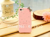 1pcs/lot New Glitter 3D Cute Bow Furry Kitty Case TPU Back Skin for Apple iPhone 4 4S 4G Wholesale and Retail+Free Shipping