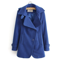 Ladies Fashion Turn-down Collar Wool Blend Long Coat Women Leisure Outerwear BL5010-Q04