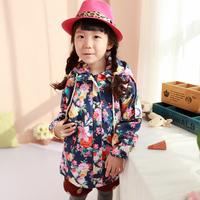 Princess 2013 children's clothing female child autumn cotton cloth child trench zipper sweater outerwear long design