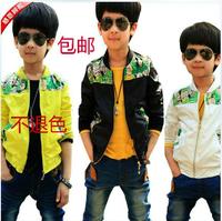 Old master q print male child thickening fleece child trench outerwear jacket child clothing blazer