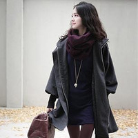2013 autumn and winter women woolen outerwear female medium-long plus size woolen overcoat with a hood trench