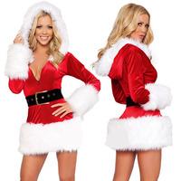 women's luxury winter warm thicken sexy faux fur christmas costumes female santa hoodie XMAS party uniform three-piece set