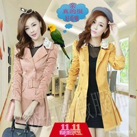 2013 autumn ol elegant clothing slim medium-long trench spring and autumn outerwear AYILIAN