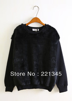 2014!!!  fashion elegant faux patchwork loose o-neck pullover sweatshirt a557