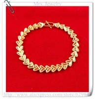 24K Bracelet - MJC4 / Wholesale love  7.5mm Heart bracelet 24K gold plated bracelets,Nickle free antiallergic,free shipping
