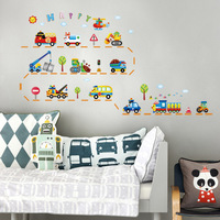 3rd Generation Waterproof Cartoon Traffic cars Removable Wall Decals Stickers Art, bedroom Decor Nursery, 50*70cm