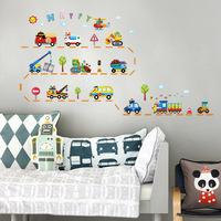 3rd Generation Waterproof Cartoon Traffic cars Removable Wall Decals Stickers Art, bedroom Decor Nursery, 50*70cm