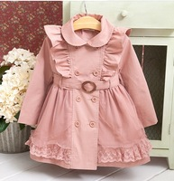 Hot-selling 2013 winter quality female child cotton-padded double breasted belt trench child thick outerwear