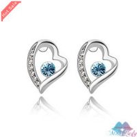 Wholesales Fashion Jewelry 18K Platinum Plated Crystal Trendy Heart Stud Earrings for women 9056