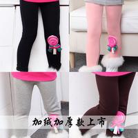 4548 Winter 100-140cm Children Kid Girls Warp-Knitted Velvet Thickening Lollipop Print Legging Pants,1 lot=5 sizes each color