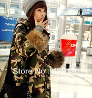 3013Winter medium-long overcoat outerwear big raccoon fur thickening Camouflage berber fleece Camouflage wadded jacket female