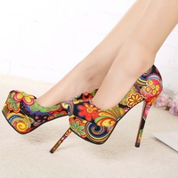free shipping sexy red bottom high heels fashion ladies shoes woman 2013 spring new platform pumps girls flowers print