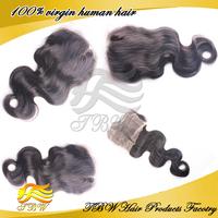 "Cheap Virgin Brazilian Human Hair Wave Lace Top Closure 4x4""Swiss Lace Closure Bleached Knots Free Shipping"