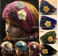 Newest,women hair band ,girls knitting 3 flower headbands ,Epcaket   Free shipping