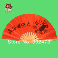 Chinese Traditional Handmade Tai Chi Fan 36cm red color with poly fabric