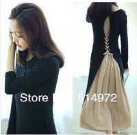 Bohemian dresses women autumn winter medium-long long sleeve knitted dress Free Shipping