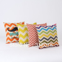 Wholesale Chevron Zig Zag Mustache Linen Cushion Cover Throw Pillow Case for Sofa Chair, 4 pcs/set, 18 Inch * 18 Inch