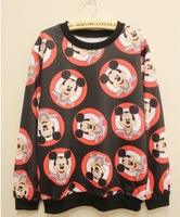 lovers fashion women  men print mickey mouse  cartoon cute head  warm  Oversize pullover  Sweater Top black  loose  sweatshirt