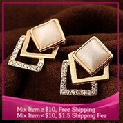 B217 Fashion jewelry opals Three layers earrings for women