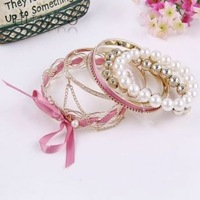2013 New Arrived Fashion Korean Cute Woven Ribbon Imitation Pearl Multilayer Braclet B371