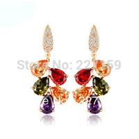 Fashion 18K Rose Gold Plated Jewelry Mona Lisa Drop Earrings Dangle Multicolored Zircon