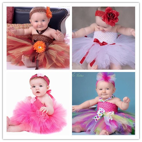 2014 New Arrival Hot Pink/Brown/White Baby Girls Dress With Flower Headband and Tutus photography props for NB/Toddler/ 2t(China (Mainland))