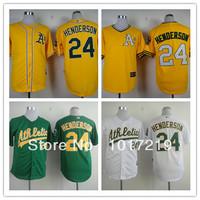 Wholesale Men's Baseball Jerseys Cheap Oakland Athletics #24 Rickey Henderson Jerseys,Embroidery Logos