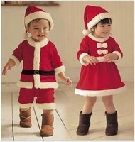 child Xmas cloths  Children Suit Baby Boys Girls Christmas Jumpsuit girls Bow dress + Hat Set Child Clothings 2pieces Kids