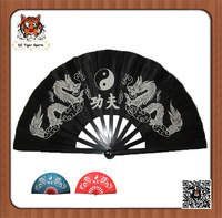 Chinese Traditional Handmade Tai Chi Fan with dragon and phoenix black color 36cm