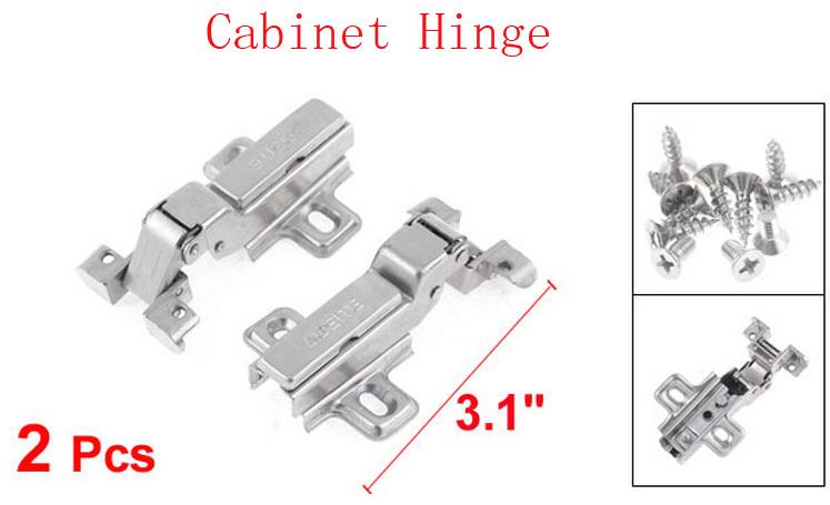 "Silver Tone Hydraulic Full Overlay Concealed Hinge 3.1"" Long 2 Pcs(China (Mainland))"