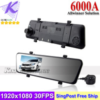 New Car DVR Mirror Camera+ Rear View Lens Video Registrar 1080P Full HD 4.3inch Display GPS+G-sensor+Motion Detection 6000A