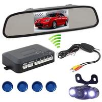 Wireless Video Parking Radar 4 Sensors Kit 4.3 inch Car Rear View Mirror Monitor + LED Rear View Car Camera Parking Assistance