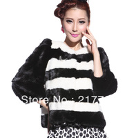 2013 women's marten winter overcoat short design mink fur coat black and white color block decoration
