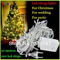 Factory directly sale 1 pcs/lot LED String Light 10M 85-265V Decoration Light Party Wedding Christmas lights Free Shipping