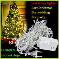 Factory directly sale 10pcs/lot LED String Light 10M 85-265V Decoration light Party Wedding Christmas lights Free Shipping