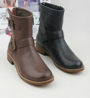 Женские ботинки 2013 FASHION WOMEN COW LEATHER ANKLE BOOTS, LADIES FASHION FLAT BOOTS